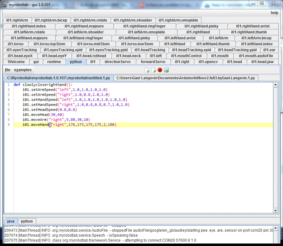 load and run default python script | http://myrobotlab org