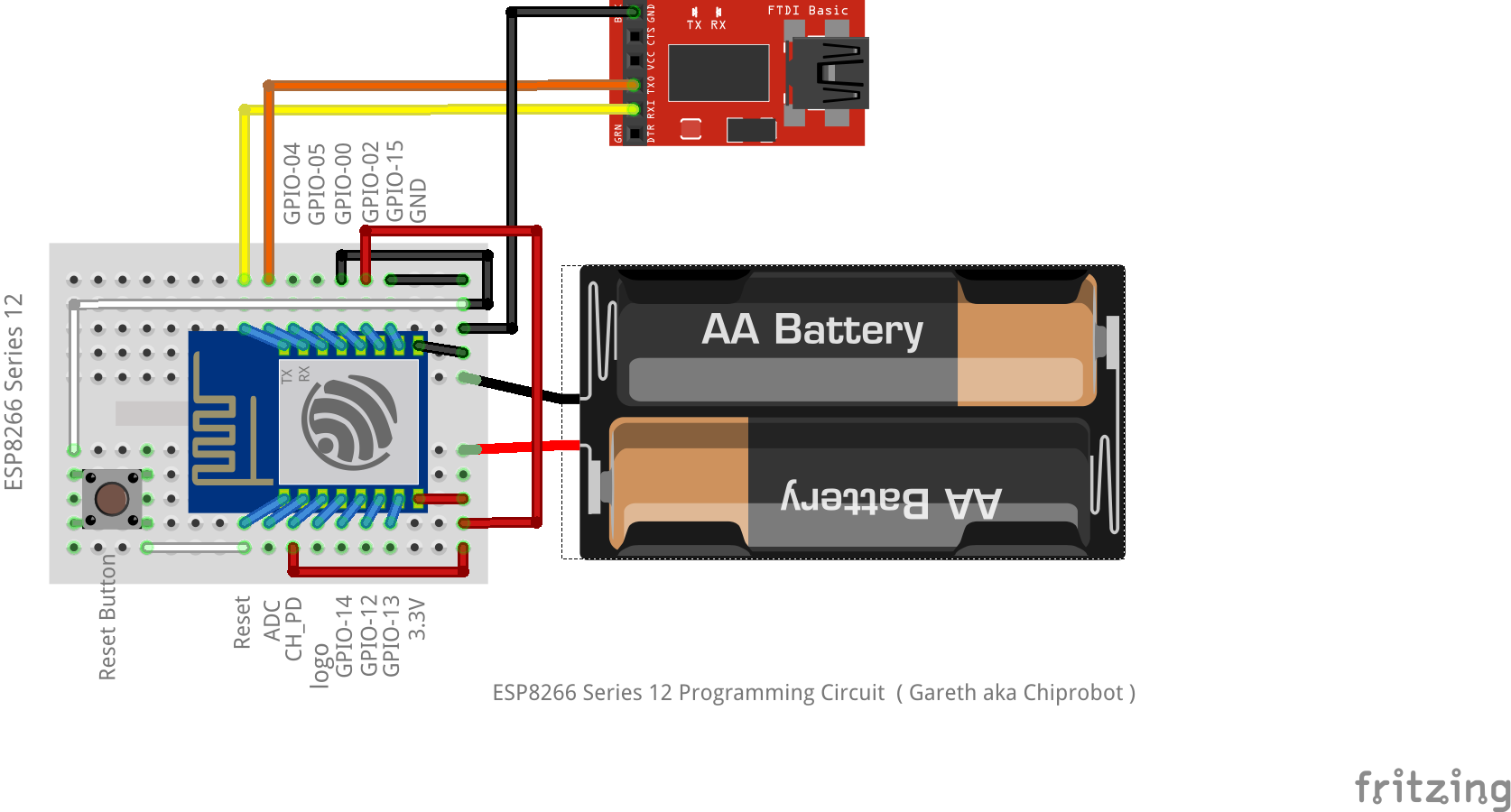 To run programs in normal mode (i.e. from powerup) the wires on pins GPIO-0  , GPIO-2 & GPIO-15 must be disconnected (Run mode).