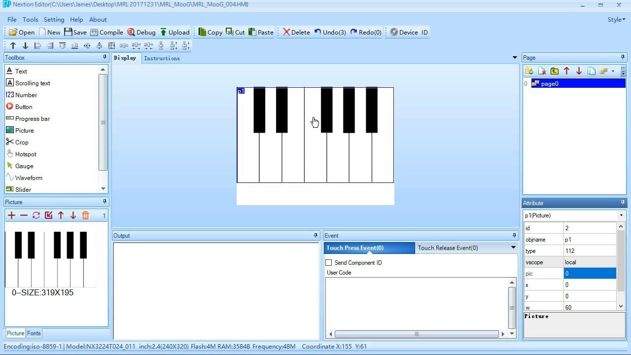 MRL MooG - Nextion Display Keyboard Gui - playing samples via MRL
