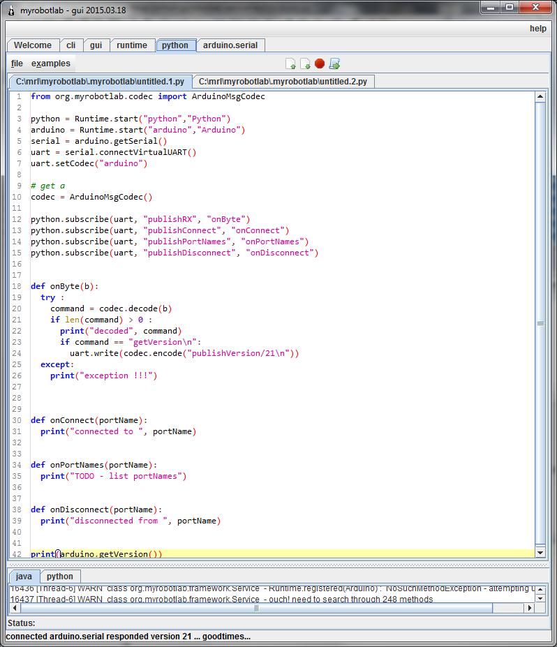 Preview of Easy Python Virtual Arduino   http://myrobotlab org